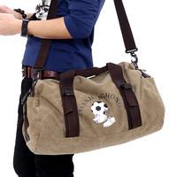 Male sports canvas one shoulder gym bag vintage cross-body bag football drum large capacity travel bag