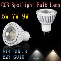 50pcs/lot  dimmable E14 E27 GU10 GU5.3 85-265V 5W 7W 9W GU10 COB LED lamp light led Spotlight White/Warm white led lighting