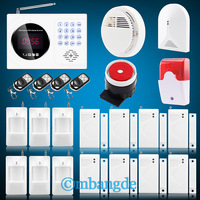 Free shipping!   Android App Wired Wireless GSM SMS LCD Home Alarm Security System  Smoke Detector Glass Break Detector