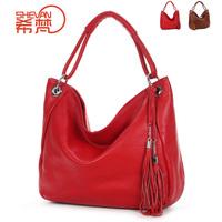 2013 women's genuine leather handbag big bag black red first layer of cowhide shoulder bag cross-body