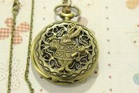 Wholesale Antique Bronze Alice in Wonderland Rabbit Pocket watch Bunny Hare Pendant With Pocket watch