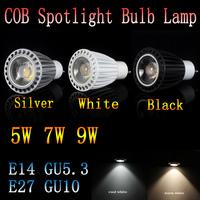 100pcs/lot  dimmable COB LED lamp light 5W 7W 9W GU10 led Spotlight E14 E27 GU10 GU5.3 85-265V White/Warm white led lighting