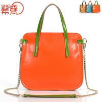 2013 women's genuine leather handbag patchwork chain oil leather candy color handbag shoulder bag messenger bag