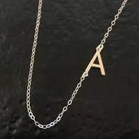 Sterling silver sideways initial necklace Alphabet Necklace