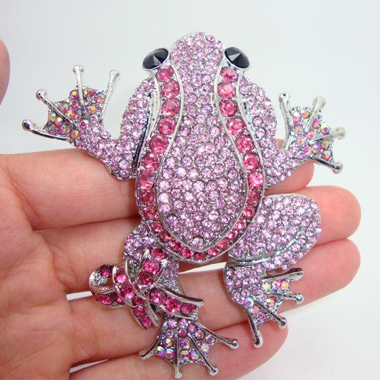 Fashion Animal Jewelry Lovely Black Eyed Frog Pink Rhinestone Crystal Bow Brooch Pin Free shipping(China (Mainland))