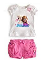 5pcs/lot new 2014 frozen elsa & anna clothing set baby & kids clothes sets,  girls frozen t shits + shorts