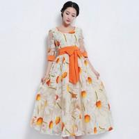 2014 New Spring Summer Dress Korean Elegance Slim Fashion Embroidery Dress Organza Half Sleeve O-Neck Long Dress Women Dress