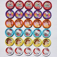 """Free Shipping: """"240 pcs/lot"""" Flattened Bottle Caps  With Printed Epoxy Domes For Handmade Hairbow"""