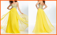 Prom Dresses A Line Sweetheart Chiffon Yellow Sequins Beading Pleats Floor Length Party Dresses Women Girl Gown New Arrival