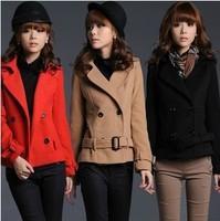 2014 spring short design wool woolen women's slim coat overcoat double breasted turn-down collar long-sleeve blazer