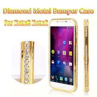 10pcs/lot DHL Free Luxury Crystal Rhinestone Metal Case For Samsung Galaxy NOTE 3 N9006 NOTE 2 Diamond Gold Slim Bling Case