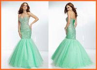 Prom Dresses Mermaid Sweetheart Tulle Blue Beading Sequins Pleats Floor Length Party Dresses Women Girl Gown New Arrival