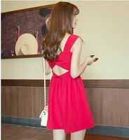 2014 spring and summer women cute sexy elegant one-piece dress racerback strapless bow sleeveless summer girl dress