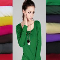 Hot sale, new arrival, free shipping women ladies candy color milk silk comfortable long sleeve t shirts, Joker tops clothes A18