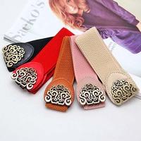 women retro adjustable Flower Elastic Stretch Buckle Wide Waistband Waist Belt#5564