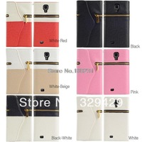 YY STTOW  Portable  Colorful Leather Zipper Case Cover for Samsung s4 i9500 Card Sets Wallet CM859