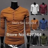 Hot Sale Men Tshirt Fashion T-shirts Summer Wear Long Sleeve 6 Colors 4 Sizes ts1072 drop shipping