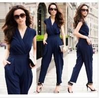 fashion women summer overalls,plus size women jumpsuits,high street women summer clothing red/blue/black