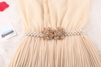 2014 spring and summer, crystal flower buckle full Pearl decoration  elastic  Belt Charm stretch belt BL027