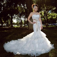 On Sale New 2014 Royal Lace Bridal Mermaid Fish Tail Princess Tube-top Slim Wedding Dress Short Trailing Lace Up Dresses Gowns