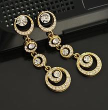 2014 New Temperament OL Fashion Korean European Multilayer Circles Gem Cystal18KGP Bridal Drop Earrings E3279(China (Mainland))