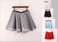sally she DOO-38 2014 spring summer women's skirts elastic waist skirt  five color skirt black red gray white sky blue lady
