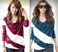 Hot sale, M-XXXL, Loose sleeve t shirt stitching striped long-sleeved knitwear pullover for ladies Free shipping wholesale A20