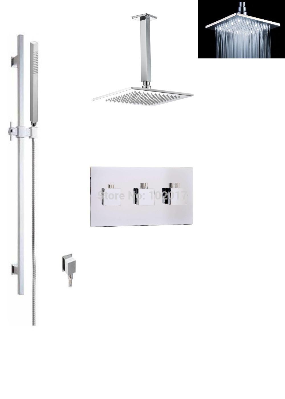 retail and wholesale white led bath thermostatic shower set(China (Mainland))