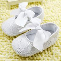 White Bowknot Baby Girl Lace Shoes Toddler Prewalker Anti-Slip Shoe Simple Baby Shoe Free &Drop shipping