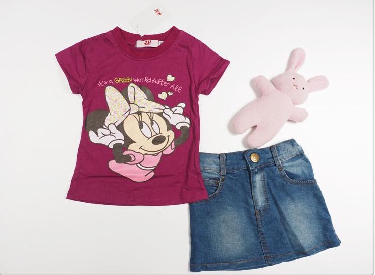 Estoque! Meninas roupas mouse minnie 2014 ternos das crianças ternos moda verão roupas de bebê roupas de verão para crianças(China (Mainland))