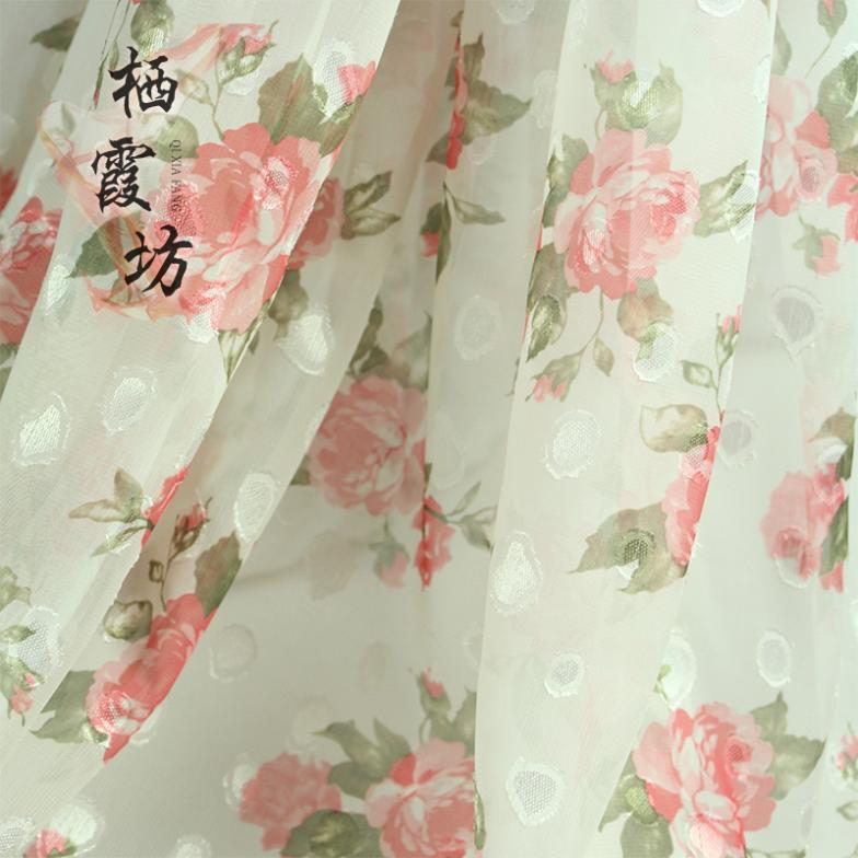 75 d rural wind cut flower printed chiffon fabric Hanfu diy manual cloth fabric(China (Mainland))