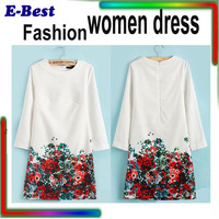High quality fashion women dress Chiffon straigt printed flower vestidos celebrity dress work business spring summer gowns