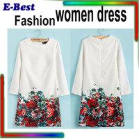 High quality fashion women dress Chiffon straigt printed flower vestidos celebrity dress work business spring summer gowns