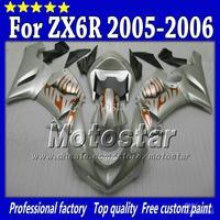 Wholesale - Bodywork fairings set for Kawasaki Ninja ZX6R 636 05 06 ZX-6R 2005 ZX 6R 2006 orange flame in flat silver SH34 with