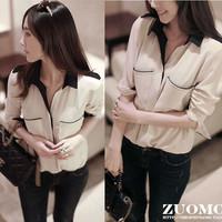 Blouse Hot Sale Kimono Limited Seconds Kill Women Clothing Buttons Joker Pocket Shirt 2014 Spring Slim Long-sleeve Female Basic