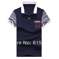 XXXL--Men's summer wear short-sleeved cotton T-shirt  /Men's clothing patch work town-down collar polo shirt male with pocket
