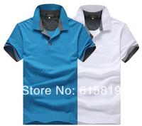 Size XXL/XXXL--Young Men's summer wear short-sleeved cotton T-shirt  /Men's  polo shirt male clothing --white/pink/blue