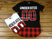 2014 new Summer new arrival underated plaid ultra long  side zipper short-sleeve tee   pyrex swag skateboard t shirt