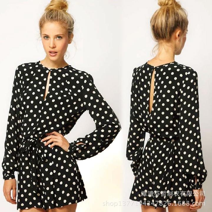 2014-new-fashion-women-black-polka-dot-Jumpsuit-long-sleeve-open-back