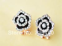 Free shipping  new arrival  fashion black oil drip crystal & rhinestone big stud earrings  12pcs/lot