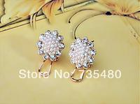 Free shipping  new arrival  fashion pearl &rhinestone big sun flower  earrings  12pcs/lot