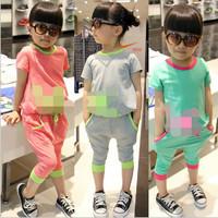 New Brand kids girl set summer clothing  t shirt+harem pants 2pcs suit 3-7y children the sports suit baby summer set 4 colors