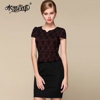 Ink 2014 summer OL outfit intellectuality heart lace patchwork short-sleeve dress slim