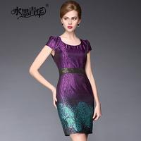 Ink 2014 summer elegant noble slim o-neck patchwork jacquard short-sleeve dress