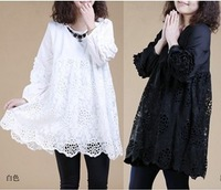 2014 new fashion  autumn  Lace dress openwork crochet loose temperament long-sleeved round neck plus size dress