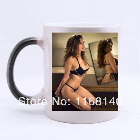 free shipping Kelly Brook sexy girl custom ceramic morphing mugs color changing 11 Oz Cups magic mug(China (Mainland))