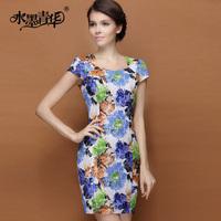 Ink 2014 summer elegant fashion elegant square collar slim print lace one-piece dress short-sleeve