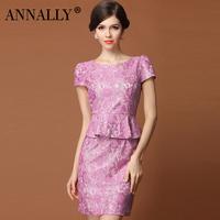 Annally2014 summer elegant formal o-neck slim ruffle hem lace bubble short-sleeve dress