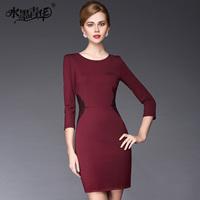 Ink 2014 spring elegant formal slim three quarter sleeve o-neck Wine red one-piece dress