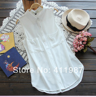 2014 New Summer Fashion Women's Solid Chiffon Sleeveless Pockets Blouse.A235